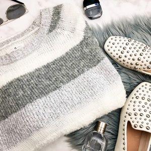 Gray Striped Soft Fuzzy Sweater